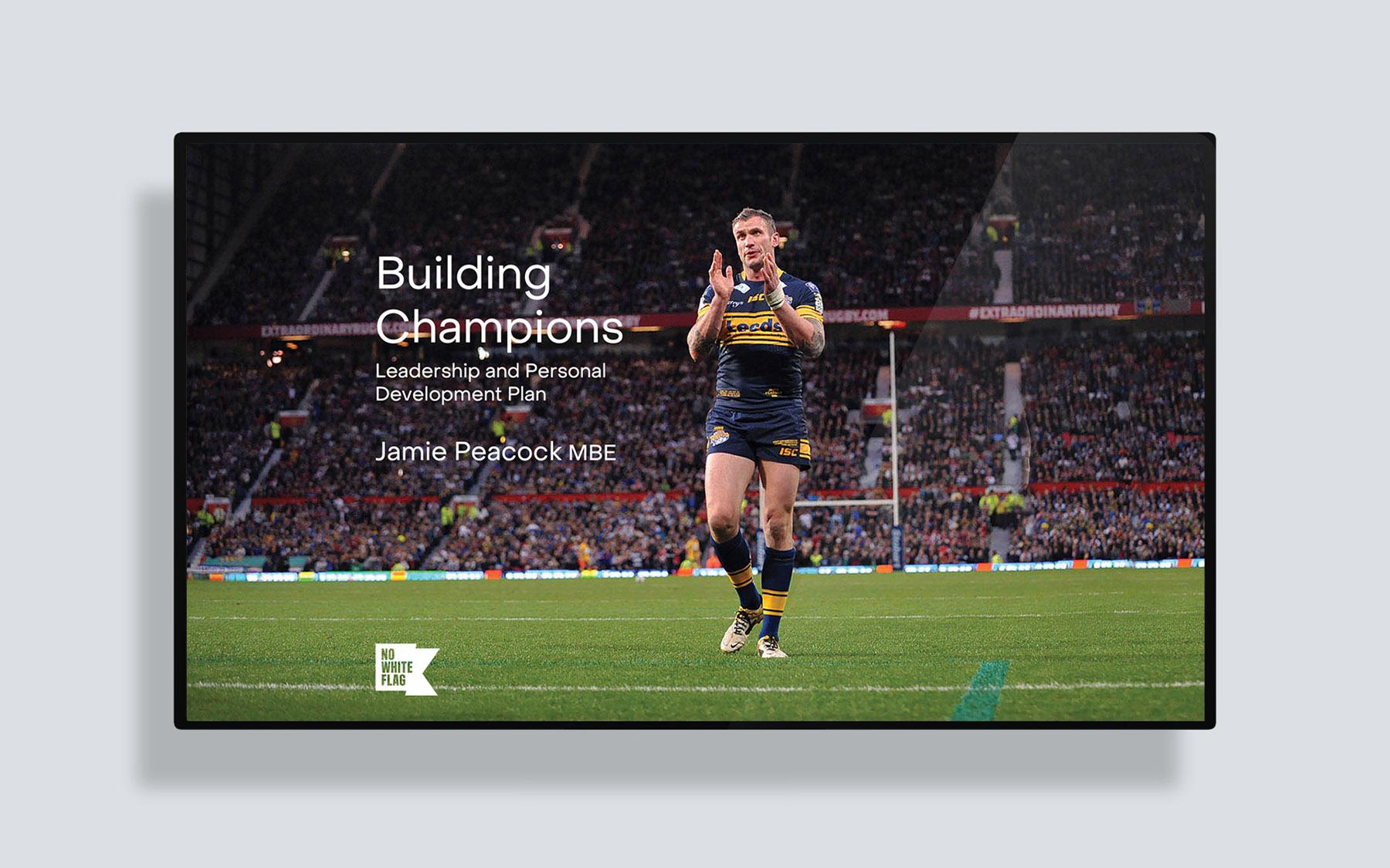Jamie Peacock Leadership Training Manual presentation design by Leeds based Freelance Designer Neil Holroyd