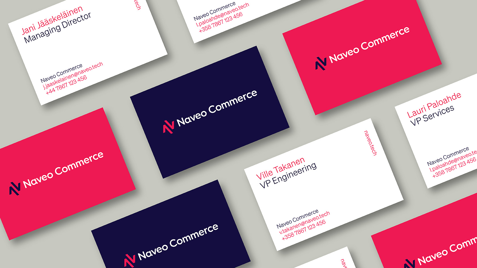 naveo commerce business cards design by Leeds based Freelance Designer Neil Holroyd