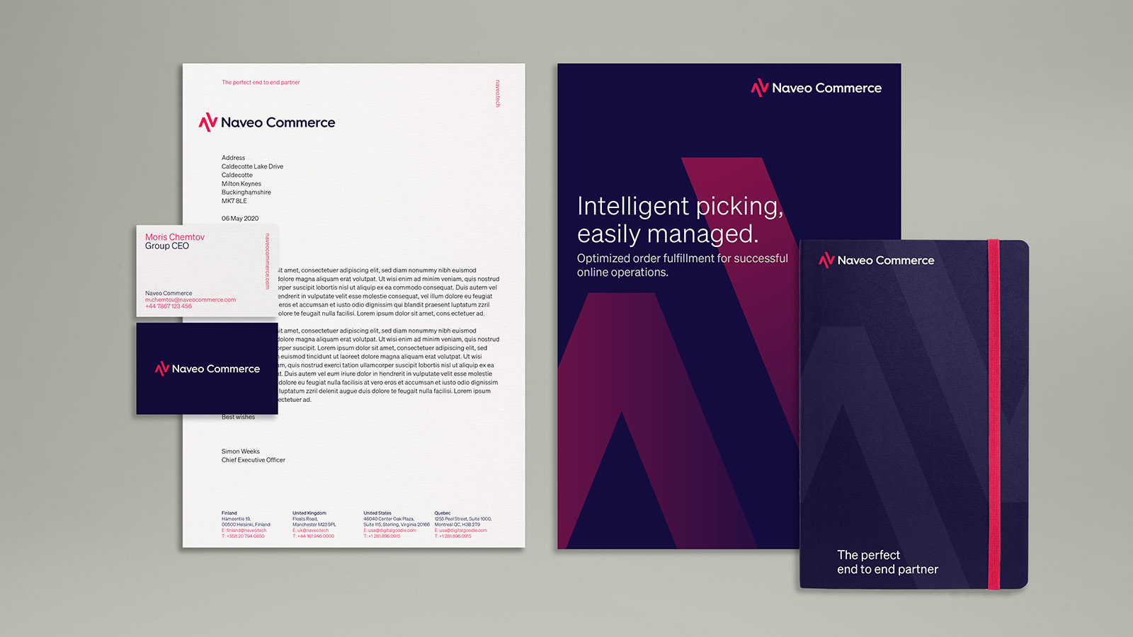naveo commerce brochures and stationery design by Leeds based Freelance Designer Neil Holroyd